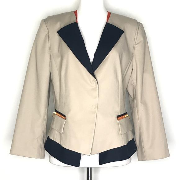 Tahari Jackets & Blazers - Tahari Tan & Orange Snap Button Blazer A010670